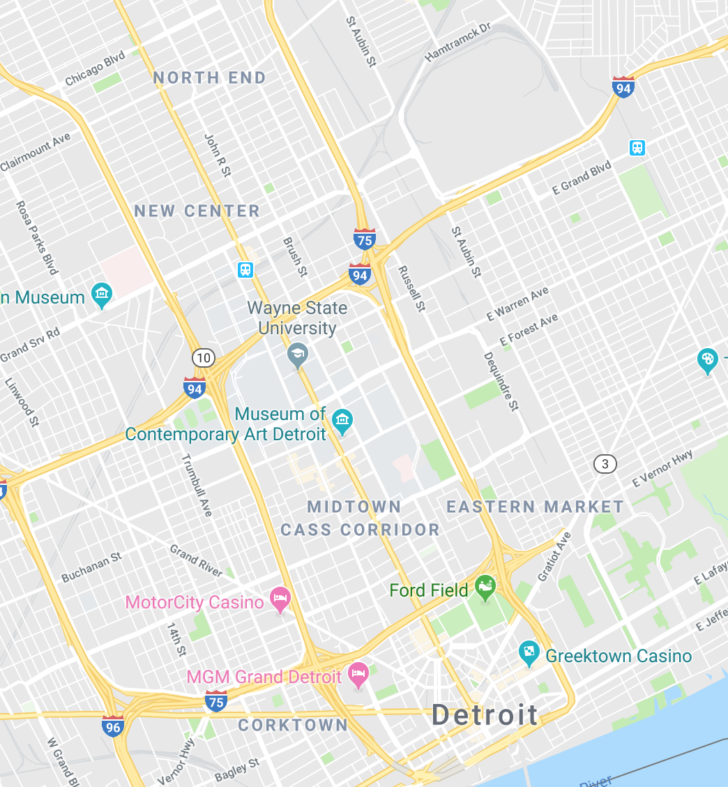 map of downtown detroit business district
